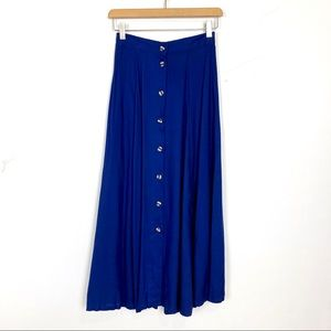Vintage high waisted button front midi skirt full